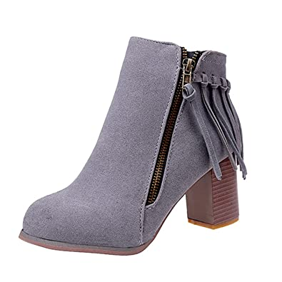 91861791f974 Cecil Joule Women s Double Zip Tassel Thick Heel Ankle Boots Female Shoes  Grey 6  Amazon.co.uk  Shoes   Bags