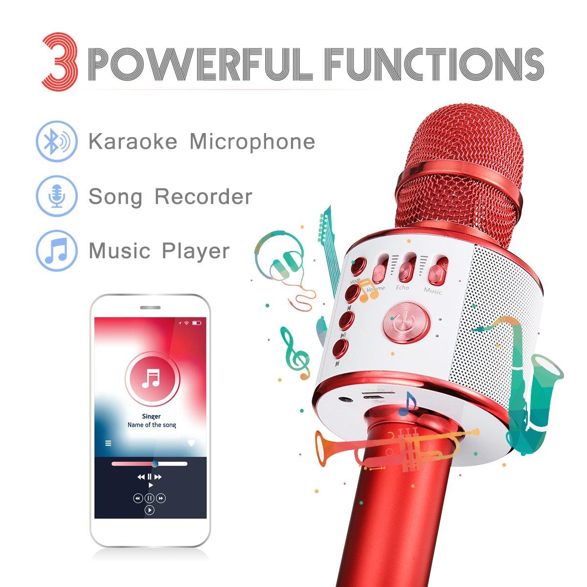 Compatible con Android//iOS Rojo PC y Smartphone NASUM Port/átil Micr/ófono Inal/ámbrica con Altavoz para Adultos y Ni/ños para Fiestas Conciertos bluetooth Karaoke Micr/ófono