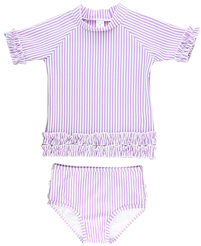 1250b04e6e Amazon.com  RuffleButts Baby Toddler Girls Seersucker Rash Guard 2-Piece  Short Sleeve Swimsuit Set with UPF 50+ Sun Protection  Clothing