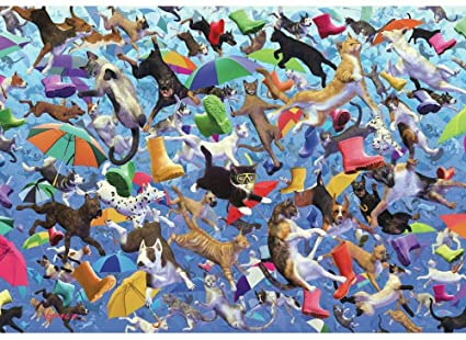 Wentworth Raining Cats and Dogs 250 Piece Royce B. Mcclure Laser Cut Wooden Jigsaw Puzzle with Wood Whimsy Shaped Pieces