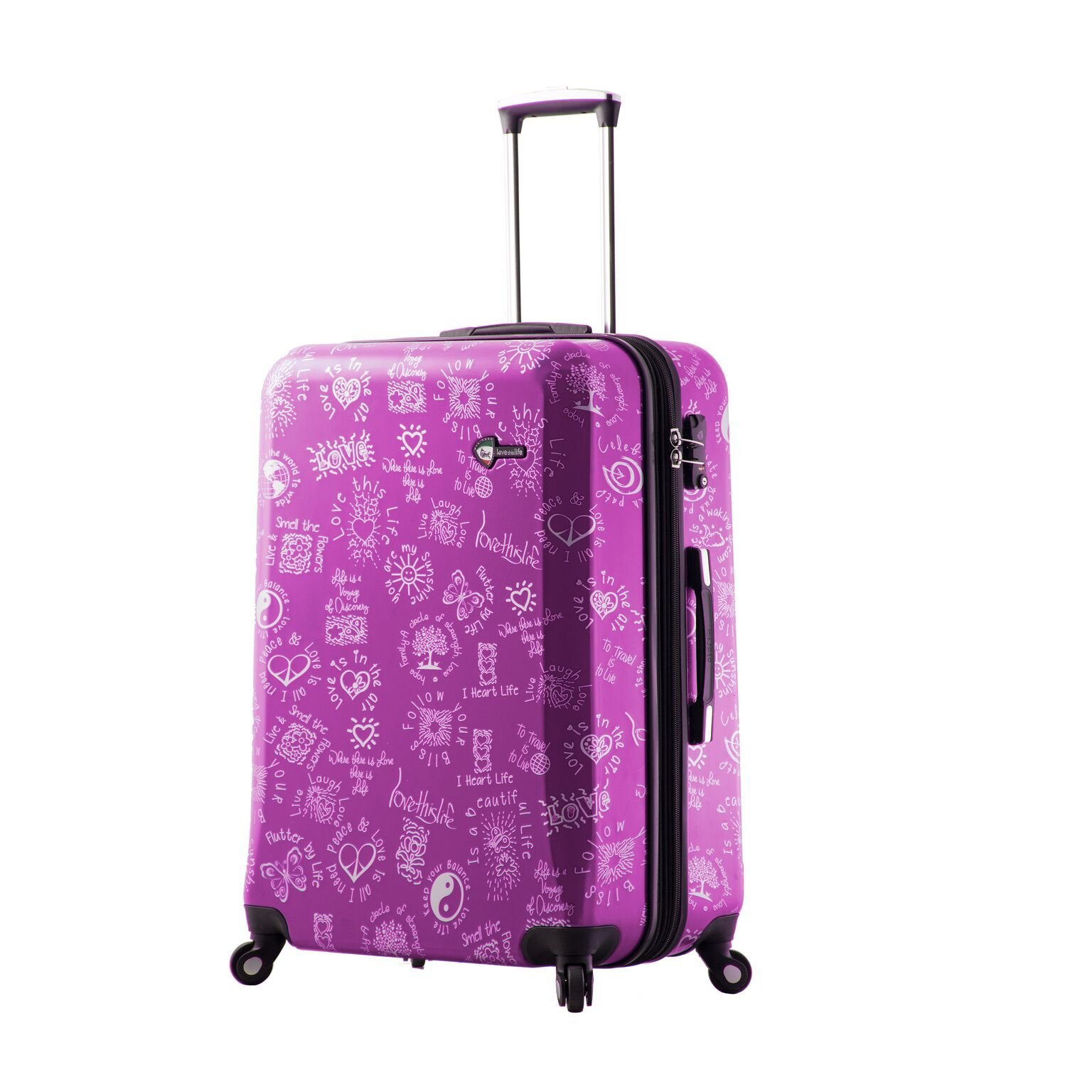 Mia Toro M1089-28in-Pur Love This Life-Medallions Hardside 28 Inch Spinner, Purple