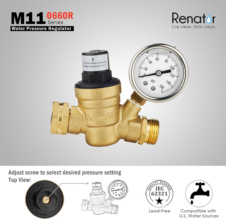 Renator M11 0660r Wasserdruckregler Ventil Bleifreier Verstellbarer Wasserdruckminderer Aus Messing Mit Manometer Für Wohnmobil Und Einlassfilter Baumarkt