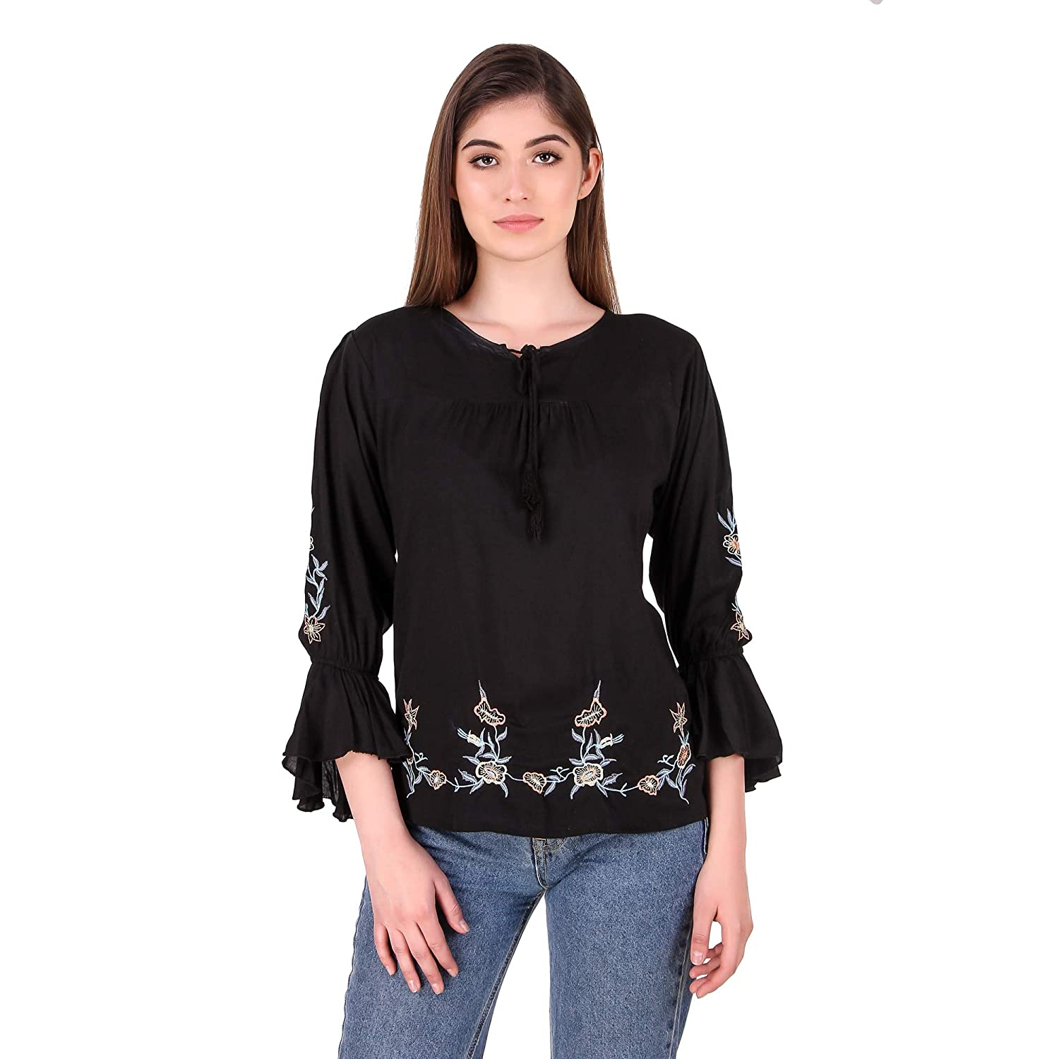 2c9e98956b18af Elyraa Women s Embroidered Rayon Cotton Top for Dailywear Casual Women Girls  Tops  Amazon.in  Clothing   Accessories