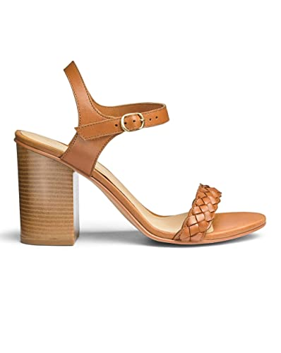 68651d31978 Simply Be Womens Sole Diva Leather Block Heel Sandal E Fit Tan
