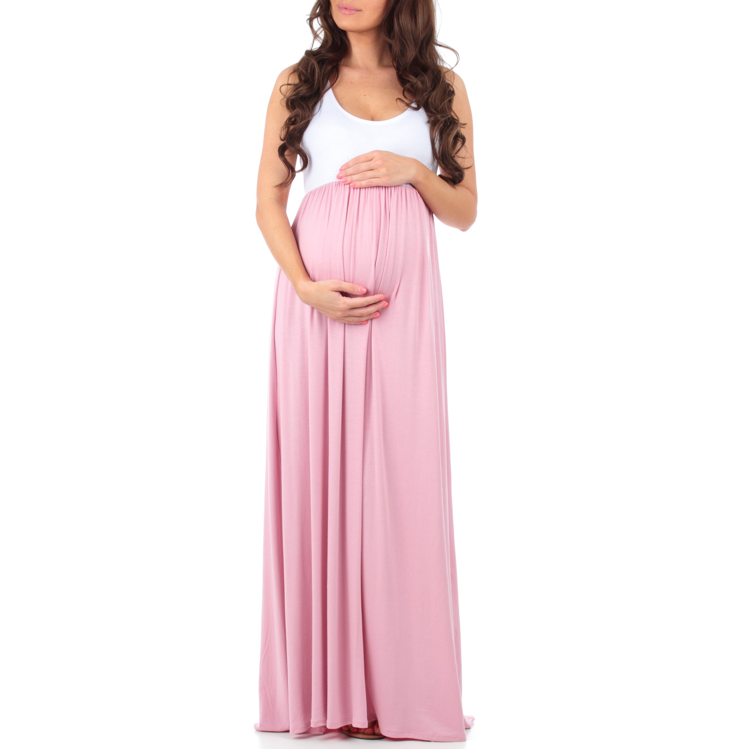 Women's Sleeveless Ruched Color Block Maxi Maternity Dress by Mother Bee - Made in USA