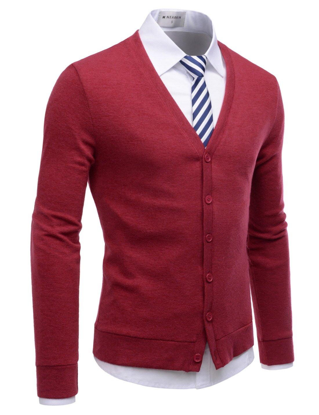 NEARKIN (NKNKCAC1) Mens Knitwear City Casual Slim Cut Long Sleeve Cardigan Sweaters RED US XL(Tag size XL)