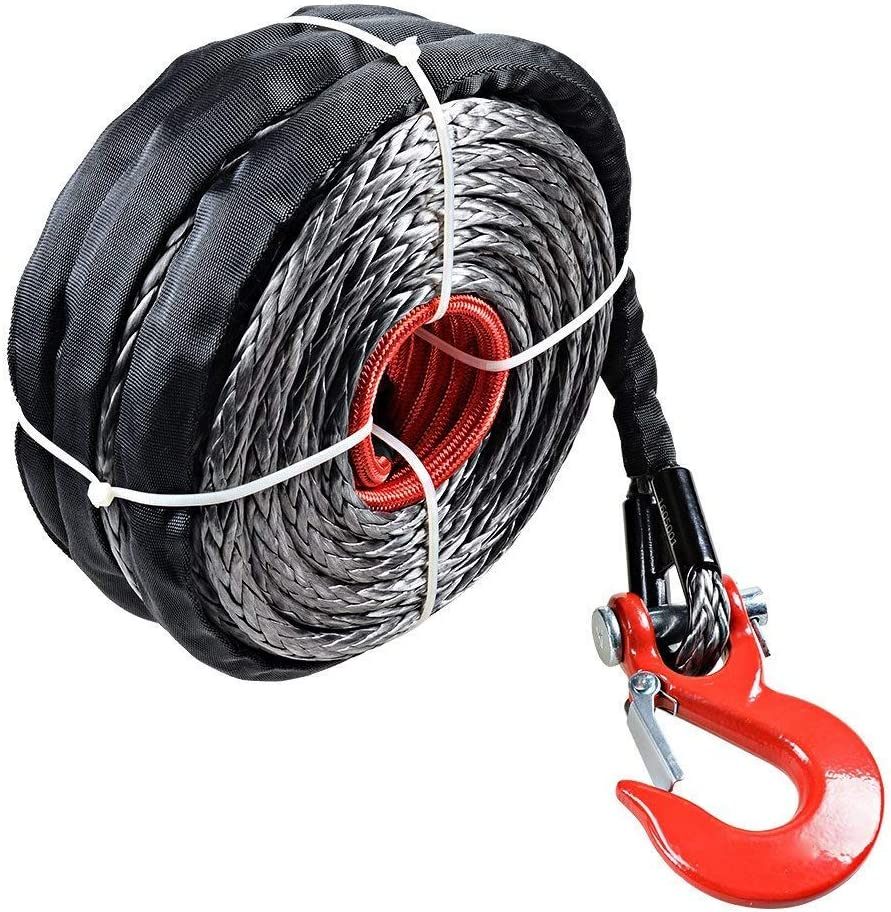 95 Foot 3//8 Inch Synthetic Fiber Winch Rope Steel Clevis Hook with 3 meter Heat Insulation Rope Up To 20,500 Lbs