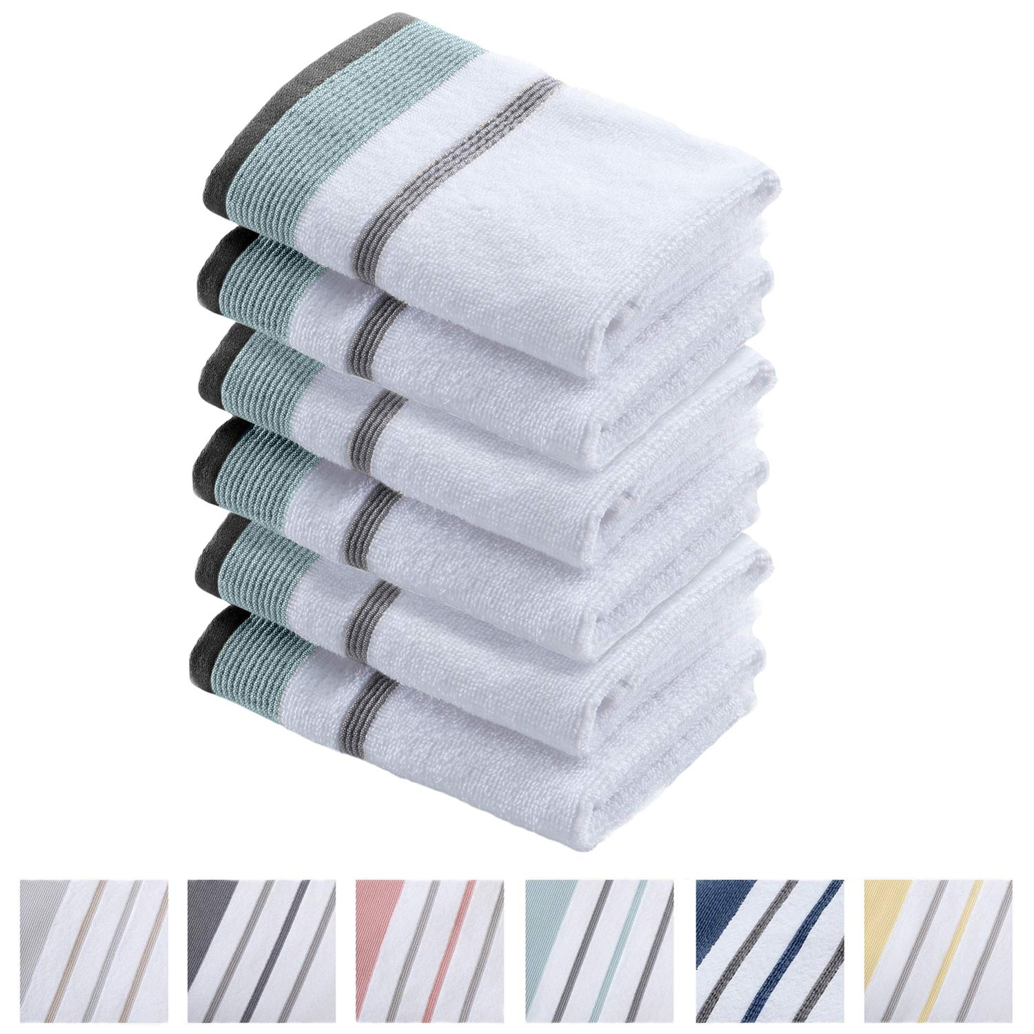 100/% Turkish Cotton 30 x 54 inches Noelle Collection Set of 2, Red//Grey Oversized and Absorbent Luxury Quick-Dry Towels Striped Bath Towel Set