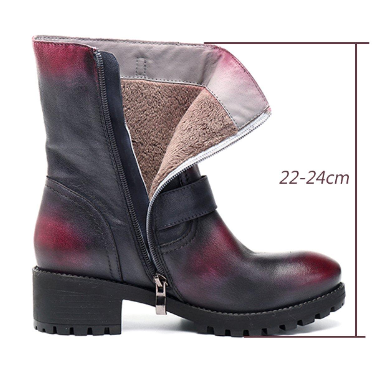 Socofy Damen Kurzschaft Stiefel Leather Ankle Stiefel Damen Kurzschaft Stiefel Stiefel Stiefel Klassische Kurz Stiefel Handmade Lederstiefel Zipper Chukka Stiefel(Hersteller-Größentabelle IM Bild Beachten) 6a7a52