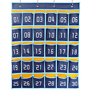Amazon caveen numbered classroom pocket chart sundries closet caveen numbered classroom pocket chart sundries closet pocket chart holder wall door hanging organizer for cell colourmoves
