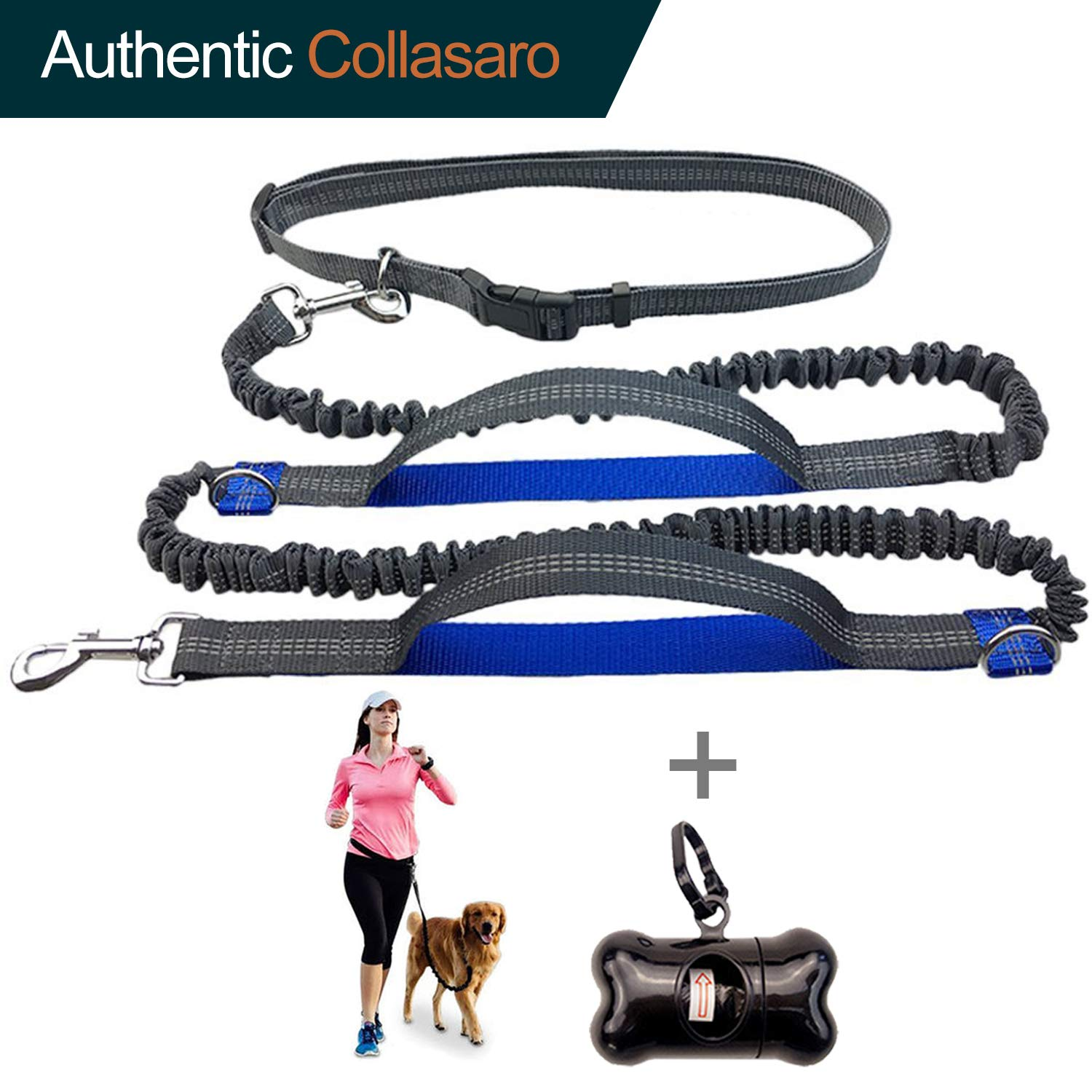 Durable Hands Free Dog Leash for Running, Walking, Hiking, with Adjustable Waist Belt (Fits up to 47 waist) and Shock Absorbing Bungee Collasaro