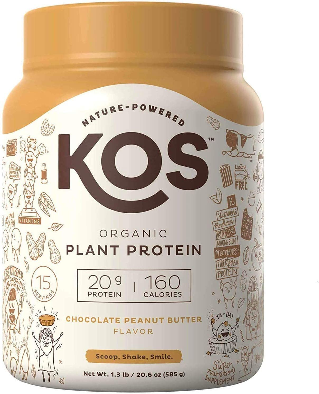 KOS Organic Plant Based Protein Powder – Raw Organic Vegan Protein Blend, 1.3 Pound, 15 Servings (Chocolate Peanut Butter)