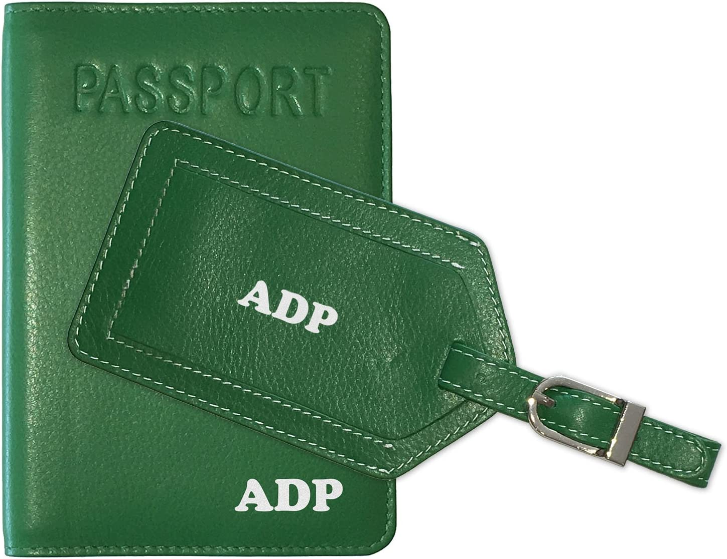Personalized Monogrammed Black Leather RFID Passport Cover Holder and Luggage Tag