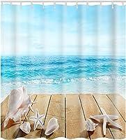 Chlove 3D Digital Printing Ocean Beach Shower Curtain with Hooks Machine Washable Waterproof Fabric Bathroom Shower Curtains 72 x 72 Inch (Sea & Beach & Conch & Starfish)