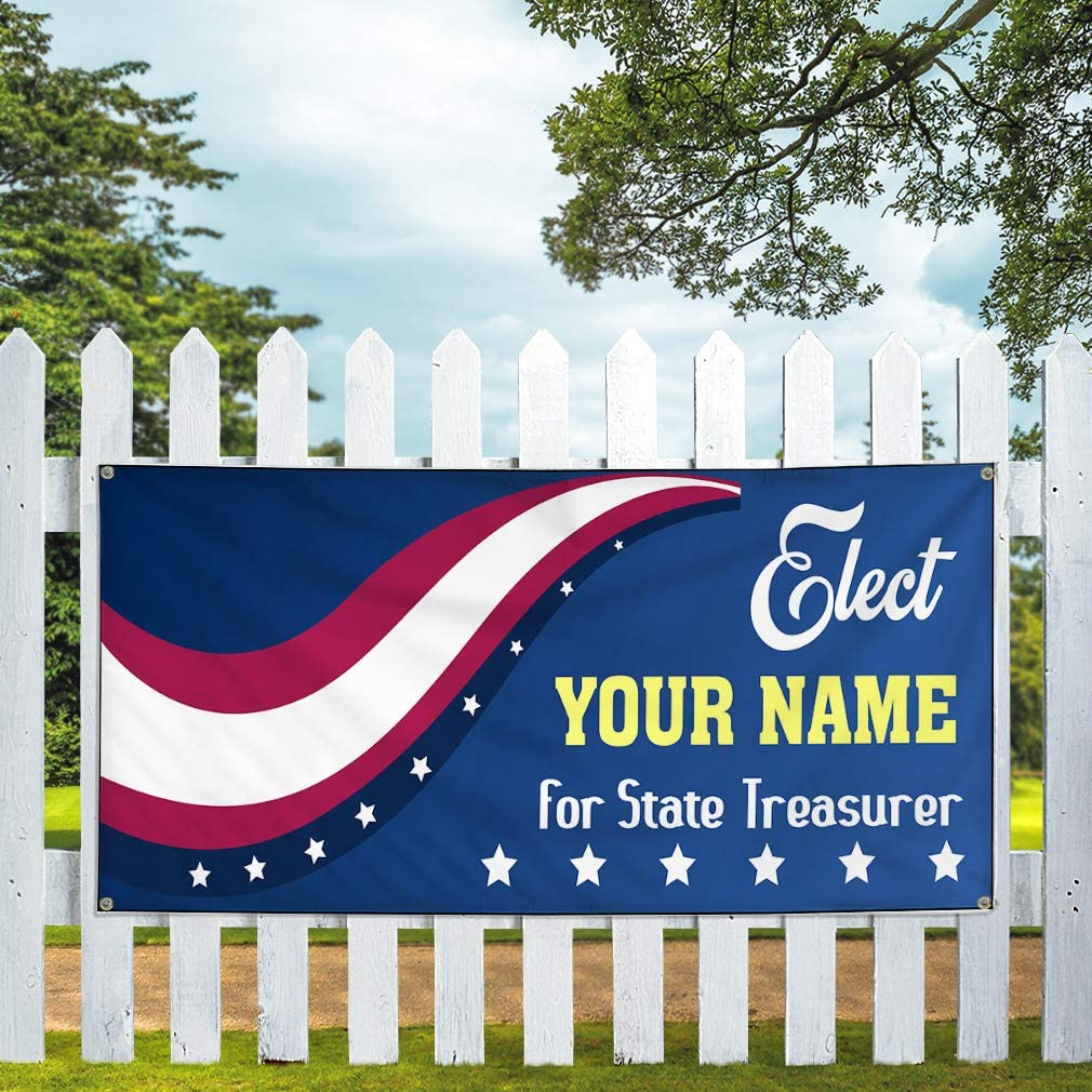Custom Vinyl Banner Sign Multiple Sizes Elect Name for Position Blue Political Elect Signs Outdoor Blue 10 Grommets 60inx144in One Banner