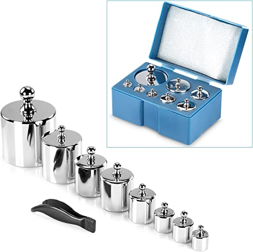 Metric Weight Set Nine Piece Calibration Weight Set Nine Weights in a Wooden Box 100g-1g