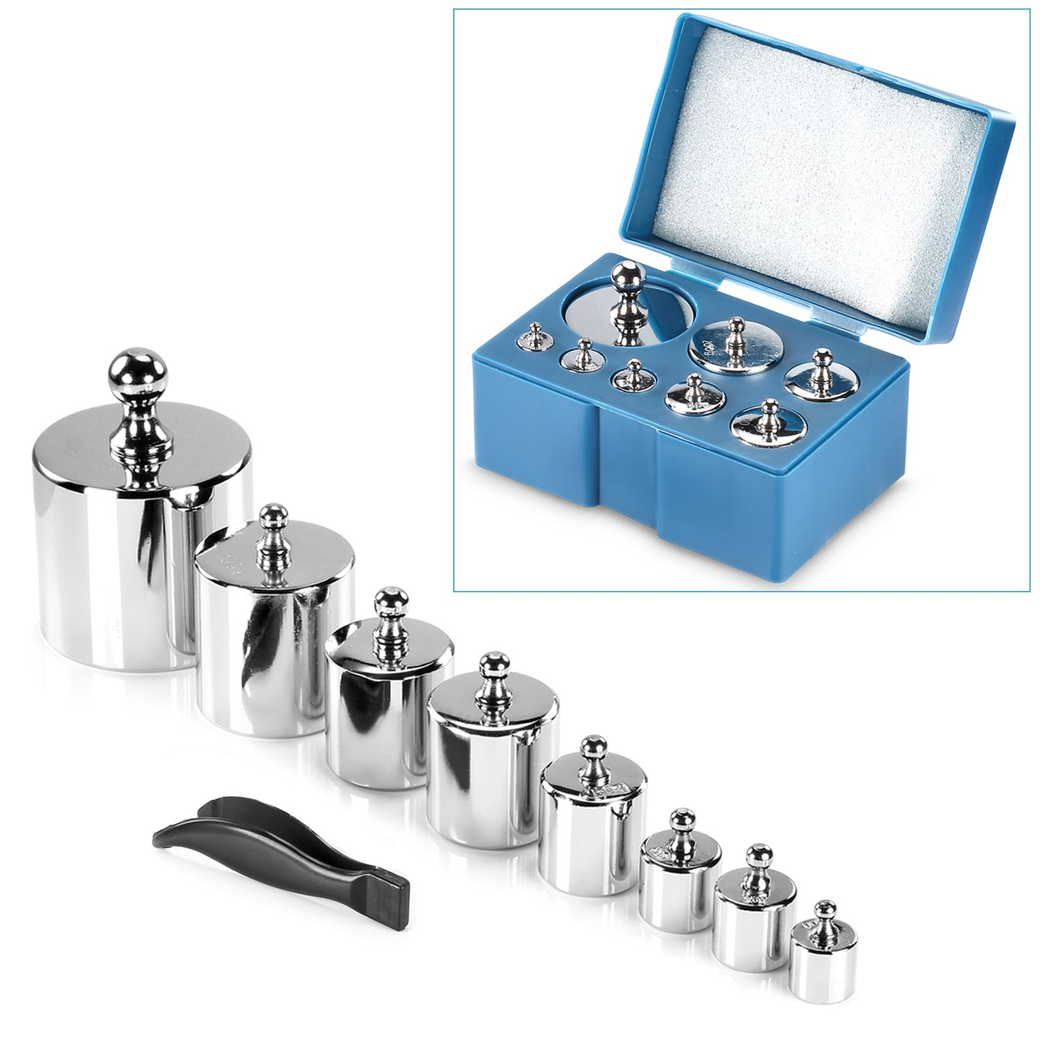 Neewer 8 Pieces 1000 Gram Stainless Steel Calibration Weight Set with Case and Tweezers for Digital Jewellery Scale Science Lab Weights Educational by Neewer