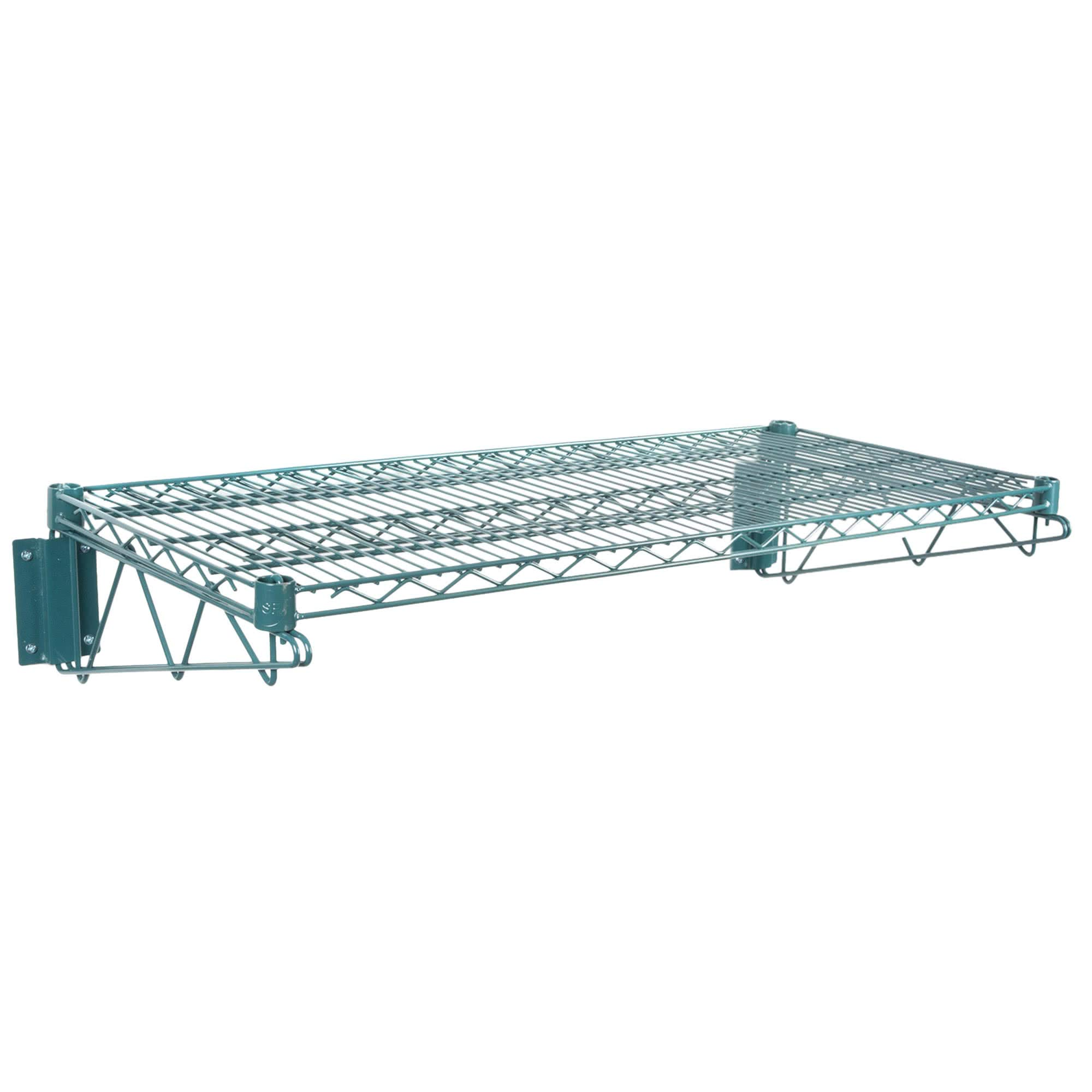 Green Epoxy Coated Wire Wall Mount Shelf 24 x 60 - NSF - Commercial