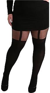 b6672eff4 Plus Size Mock Stocking Suspender Black Tights (XLarge)  Amazon.co ...