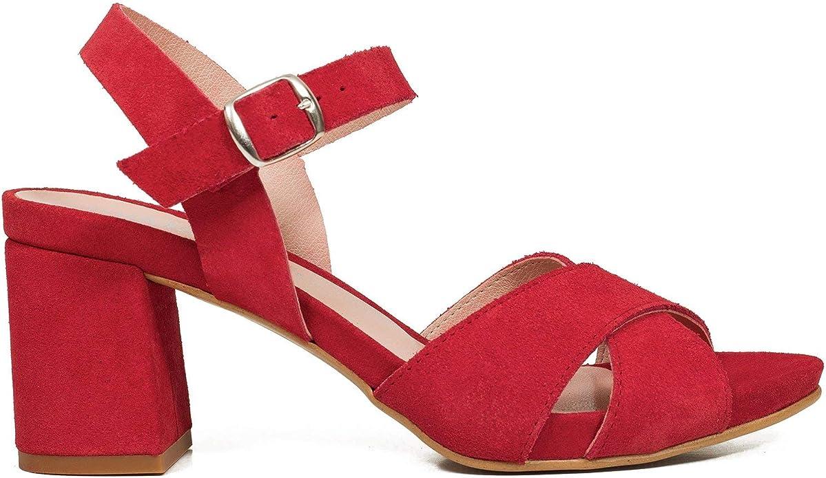 Casual Sandalias tacón Ancho Medio Rojo: Amazon.es: Zapatos y ...