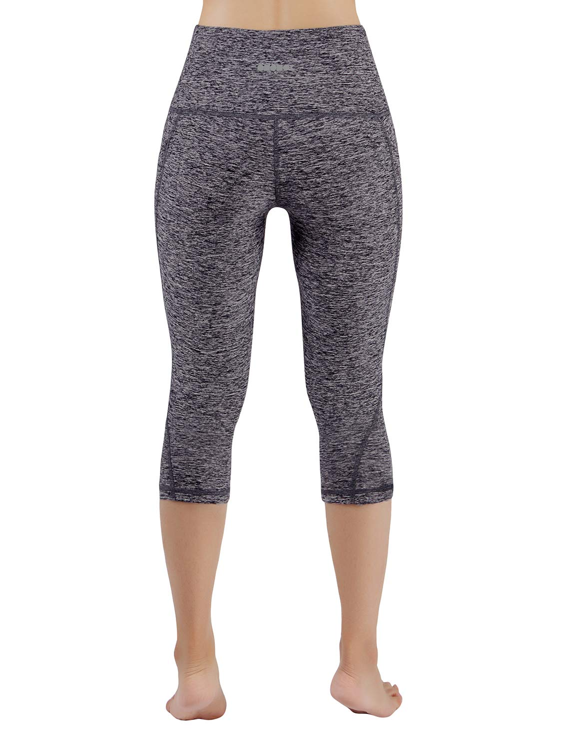 ODODOS High Waist Out Pocket Yoga Capris Pants Tummy Control Workout Running 4 Way Stretch Yoga Leggings,NavyHeather,X-Small by ODODOS (Image #3)