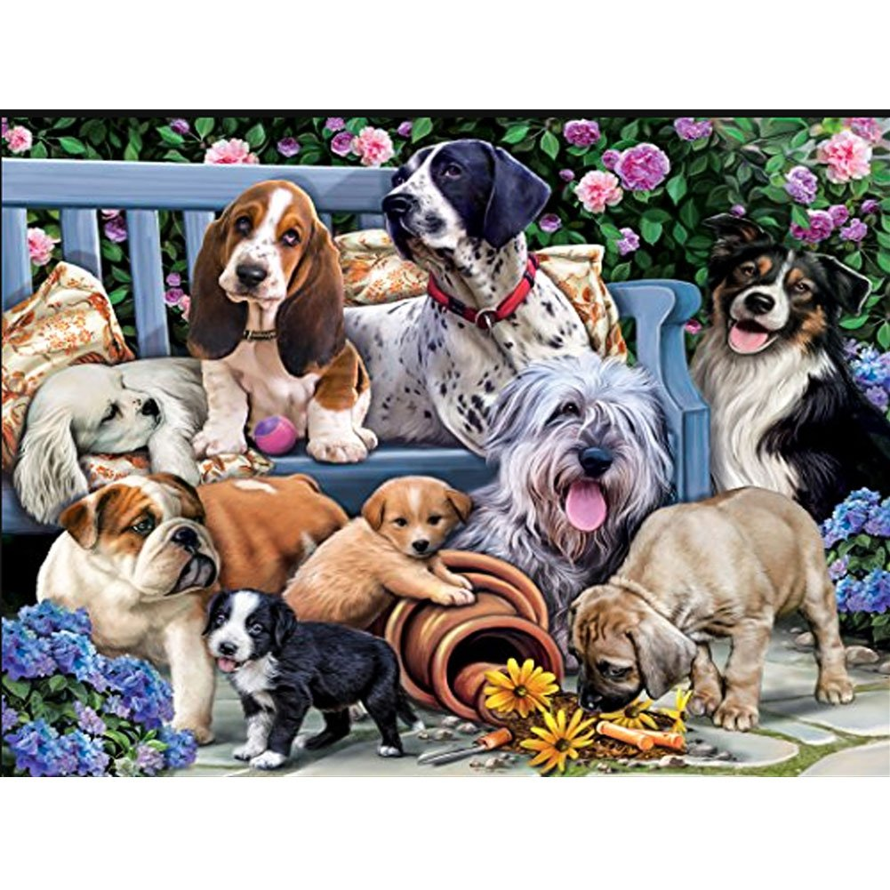5D Diamond Full Painting Kit, DIY Rhinestone Embroidery Full Drill Cross Stitch Arts Craft for Home Wall Decoration Dog on the bench 15.75× 11.81 Inches UPmall