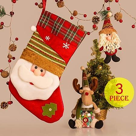 christmas decorations xmas decoration novelty decoration christmas ornaments set of 3pcs with christmas stockings candy jar with elk doll santa claus pendant amazon co uk kitchen home christmas decorations xmas decoration