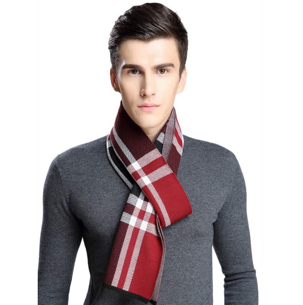 GuaziV Men's Classic Plaid Stripes Scarf, Fall Winter Soft Cashmere Scarves -71 x12in (Red-Black Plaid)