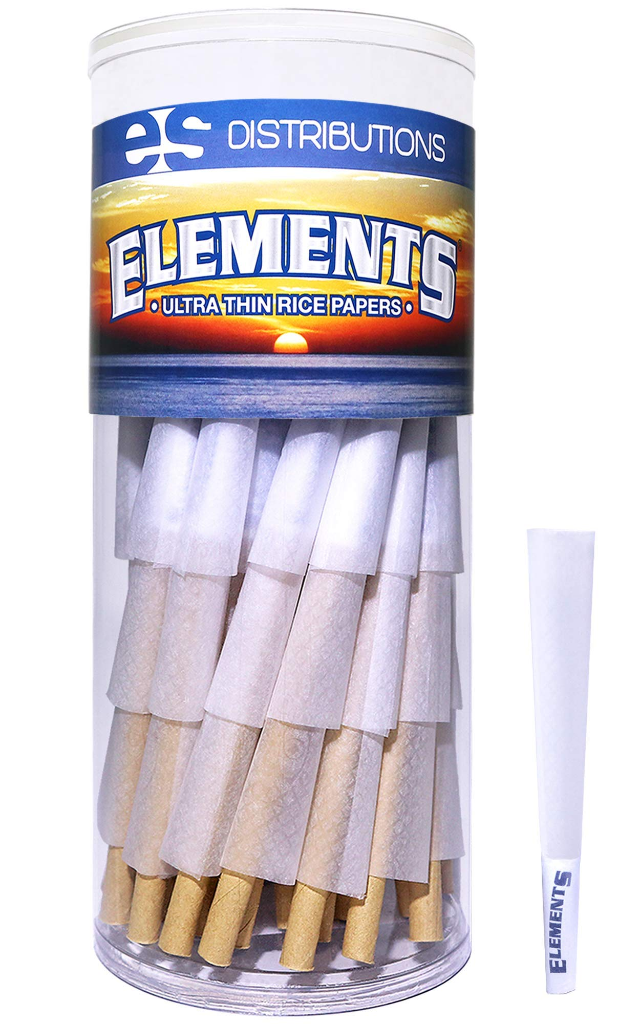 Elements Cones 1 1/4 Size | 75 Pack | Natural Pre Rolled Rice Rolling Paper with Tips and Packing Sticks Included