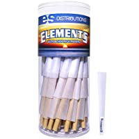 Elements Cones 1 1/4 Size   75 Pack   Natural Pre Rolled Rice Rolling Paper with Tips and Packing Sticks Included