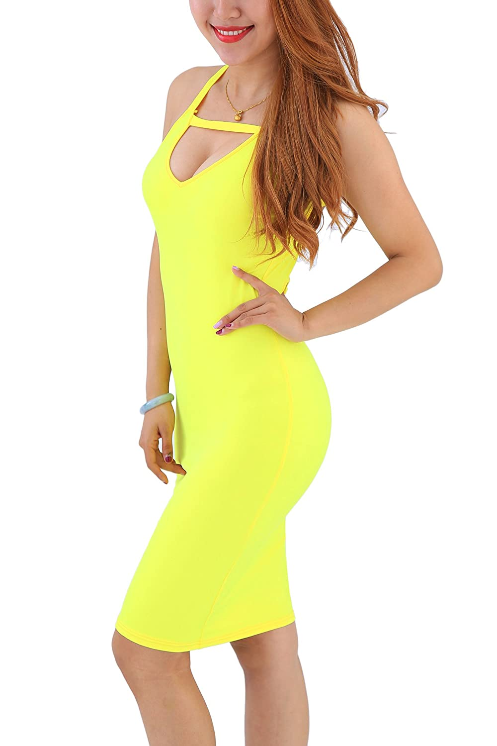 Yming Frauen reizvolle Bodycon-Partei-Verein-Kleid-Backless Sleeveless Verband-Kleid