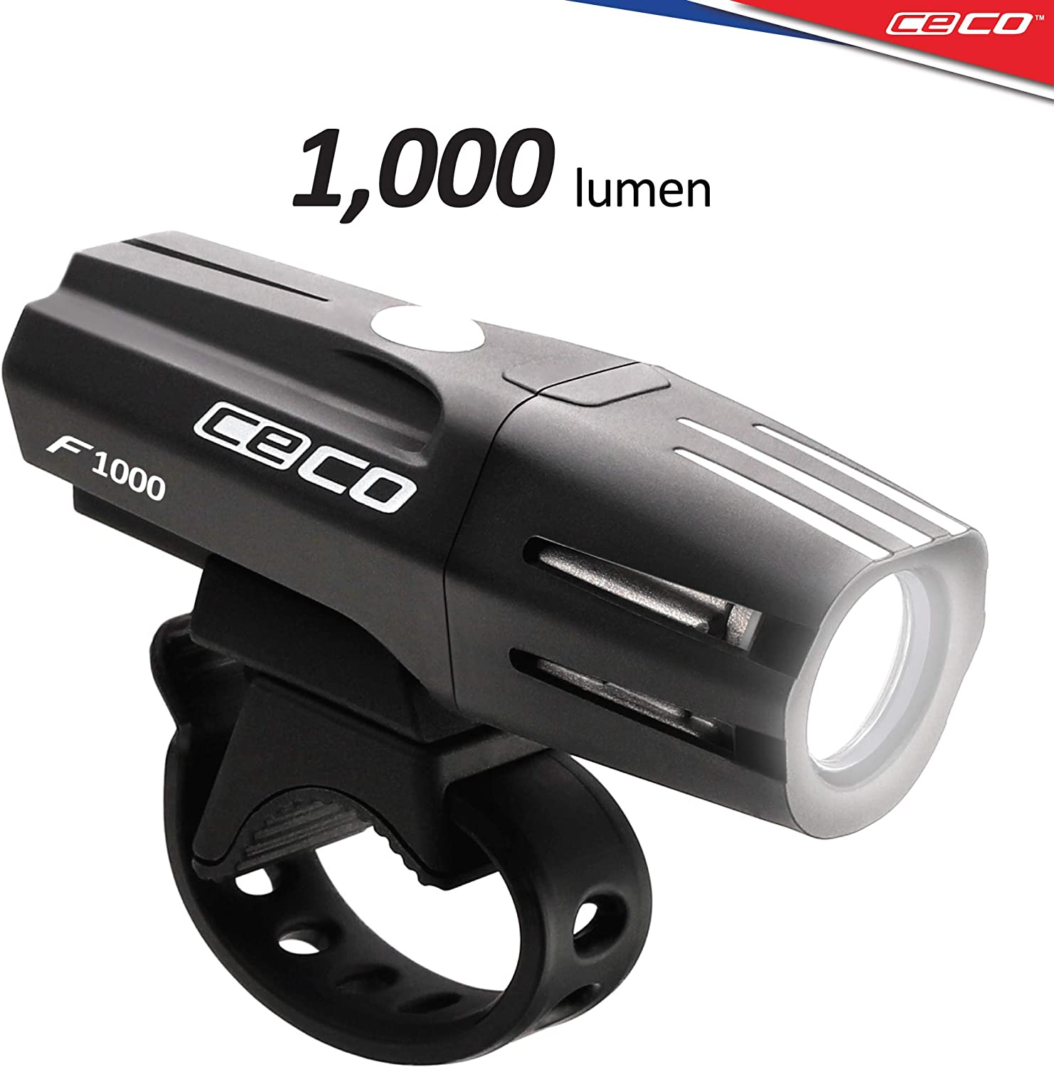 CECO-USA 1,000 Lumen USB Rechargeable Bike Light Tough Durable IP67 Waterproof FL-1 Impact Resistant Super Bright Model F1000 Bicycle Headlight For Commuters, Road Cyclists Mountain Bikers