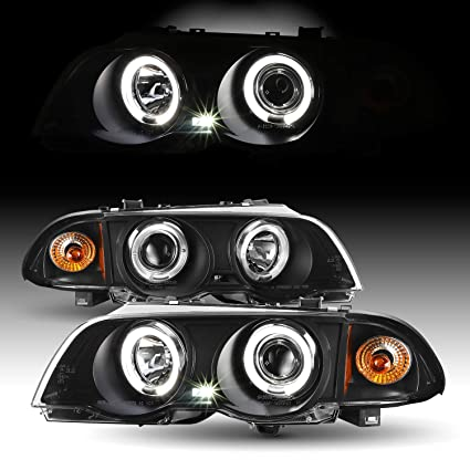 For Bmw E46 3 Series 4 Doors Sedan Black Halo Ring Led Projector Headlights Replacement Left Right