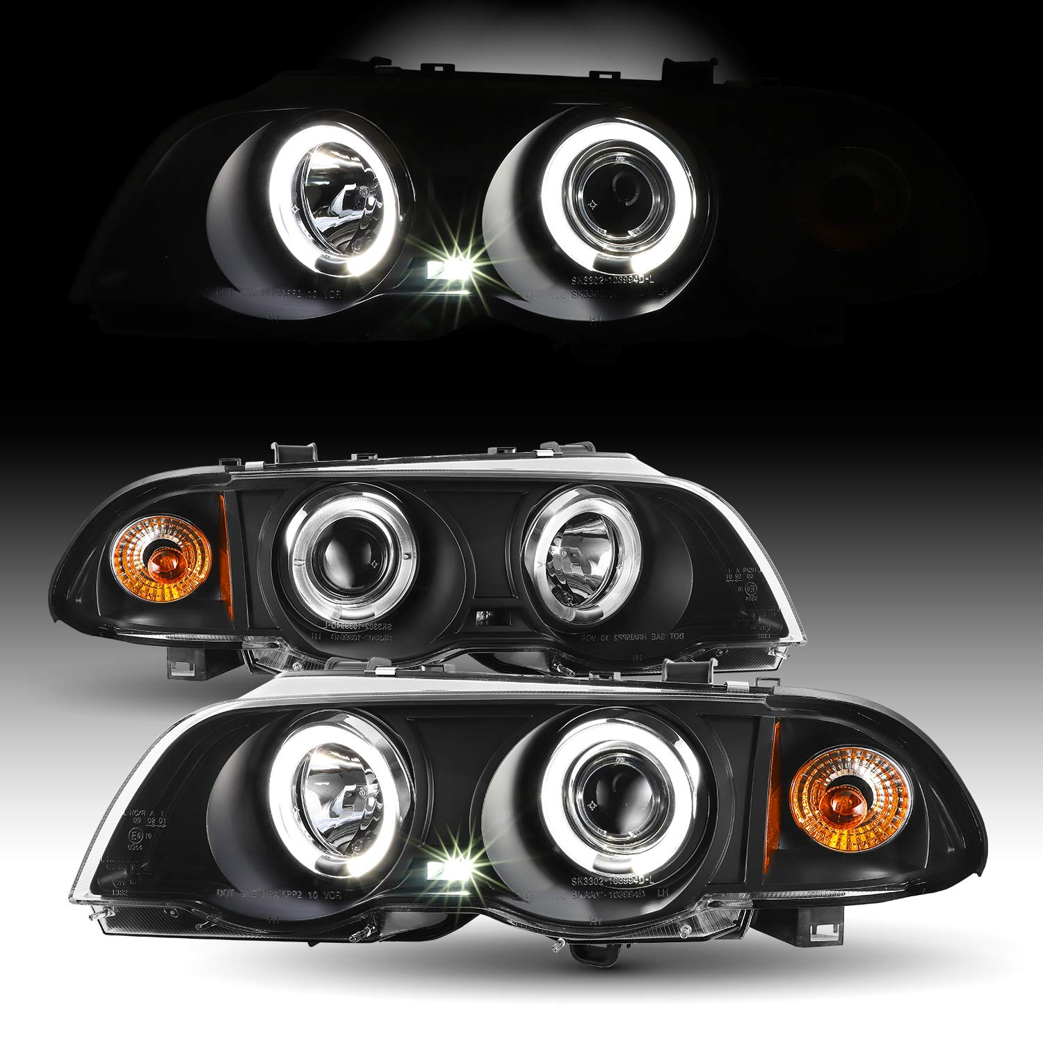 For BMW E46 3-Series 4 Doors Sedan Black Halo Ring LED Projector Headlights Replacement Left + Right
