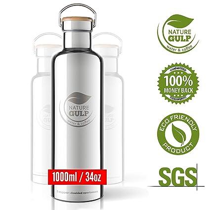 Nature Gulp - Botella de Agua con Aislamiento de Acero Inoxidable Caliente, 24-36