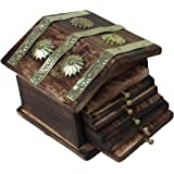 Saarthi Rajasthani Wooden Antique Beautiful Miniature Hut Design Tea Coffee Coaster Set