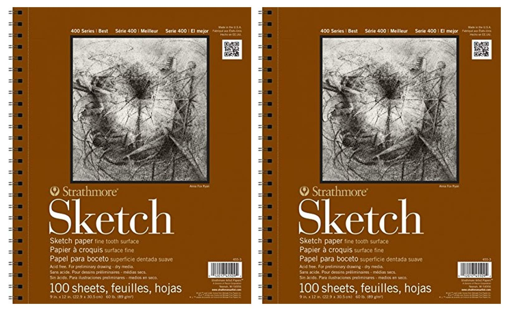 2-Pack - Strathmore 400 Series Sketch Pad, 11''x14'' Wire Bound, 100 Sheets Each by Strathmore