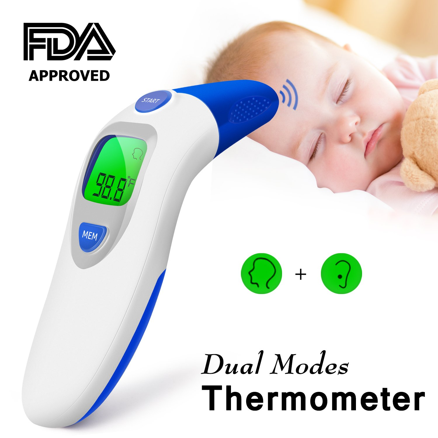 Dual Mode Forehead Thermometer, ideske Digital Display,Contactless  Ear Thermometer for Home Care, With FDA Certificate