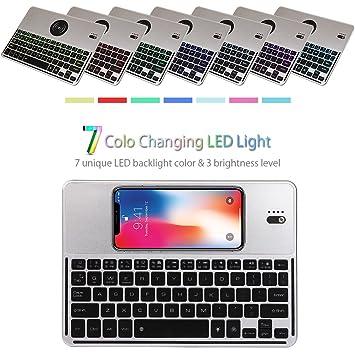 Teclado inalámbrico Bluetooth-Cargador inalámbrico-Admite todos los dispositivos QI compatibles con retroiluminación de 7 colores para iPad, tableta, ...