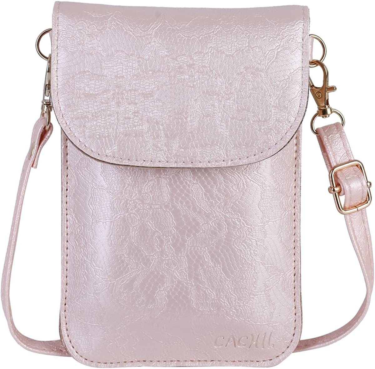 CACHIL small woman bag for phone lace texture leather cellphone holder with touch window