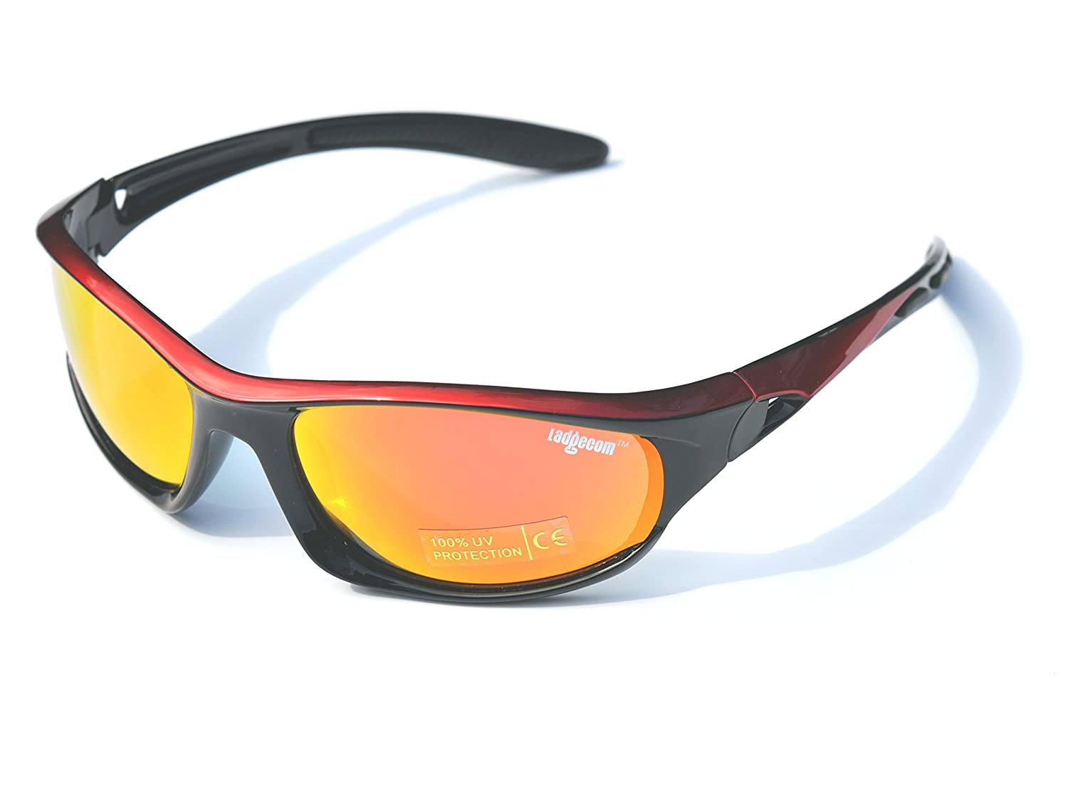 2f1c429a30bd Ladgecom Red   Black Polarised Sports Sunglasses with Revo Lens and Hard  Case  Amazon.co.uk  Sports   Outdoors