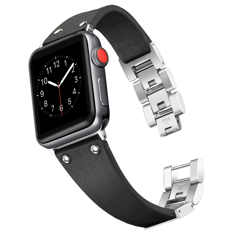 Secbolt Leather Bands Compatible Apple Watch Band Series 4 44mm, Series 3/2/1 42mm, Handmade Vintage Leather Bracelet, Black