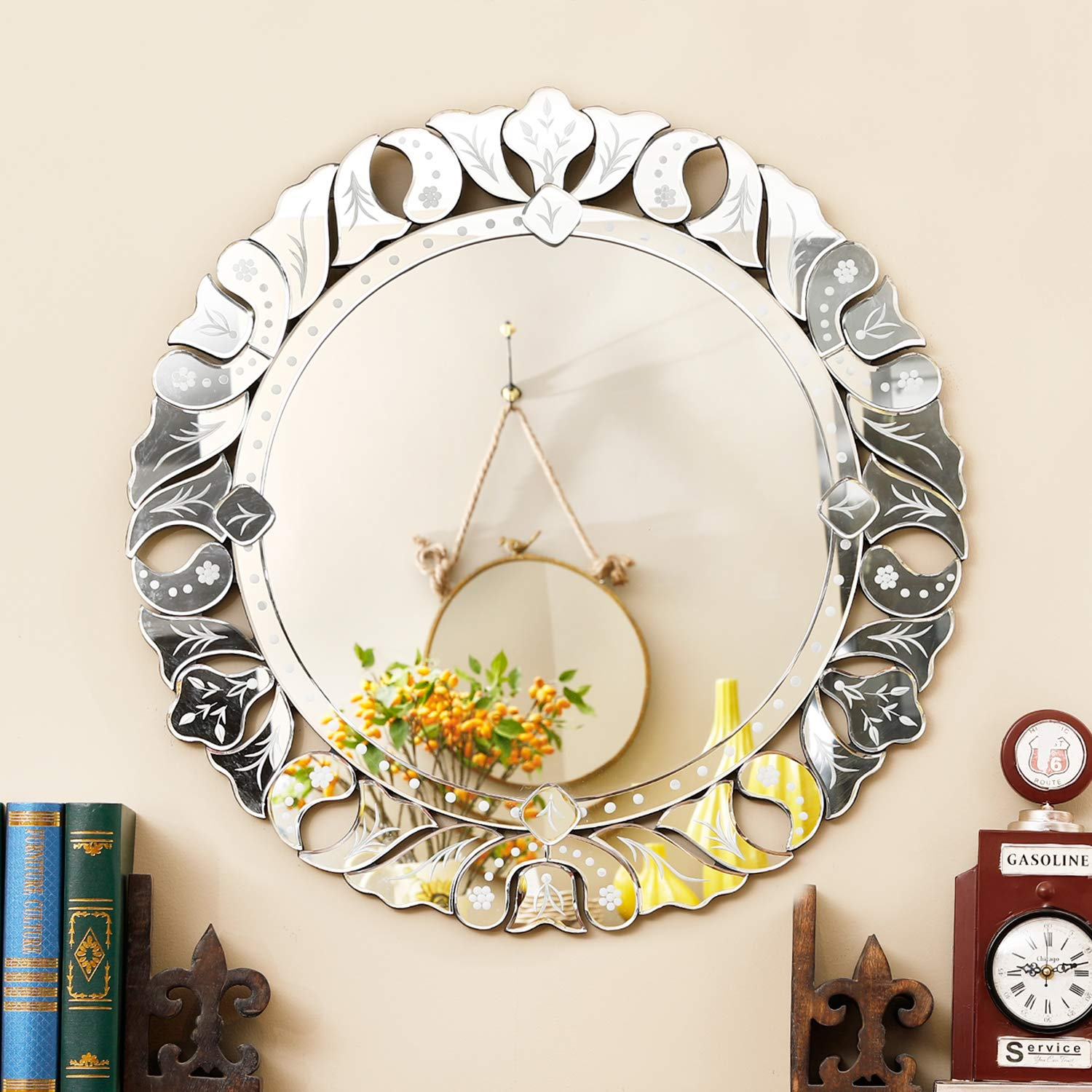 Wall Mirror with a Silver Backed Mirrored Glass Panel Best for Vanity, Bedroom, or Bathroom (31.5''x31.5'') by MX.home