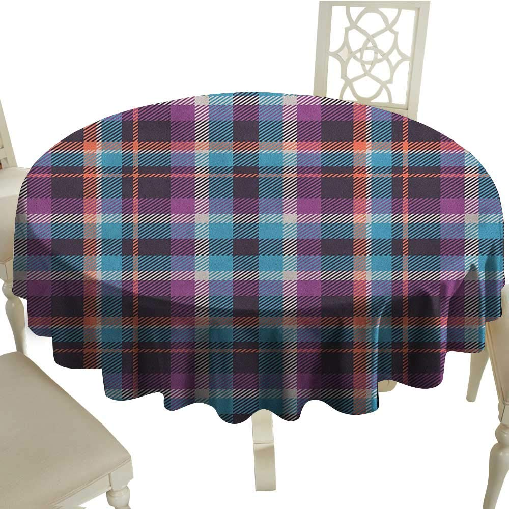 "longbuyer Checkered Patterned Tablecloth Celtic Tartan Irish Culture Scotland Country Antique Tradition Tile Diameter 54"",Suitable for Kitchen, dustproof Desktop Decoration"