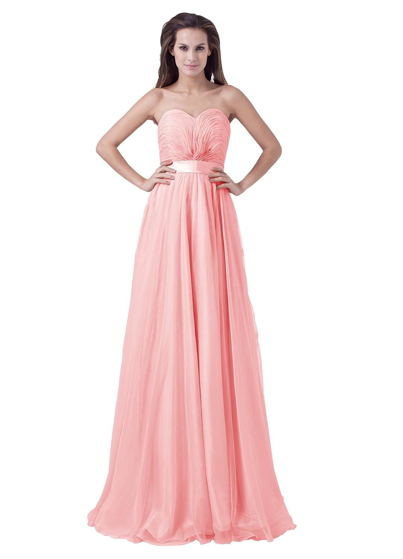 Dresstells Glamourös Damen Kleid Bodenlang Chiffon Herzförmig Abendkleider Ballkleider