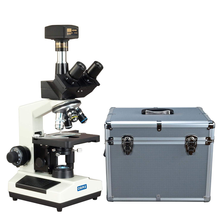OMAX 40X-2500X暗視野LED三眼鏡複合顕微鏡+ 14MPデジタルカメラ+アルミキャリングケース   B01CKHCJ04
