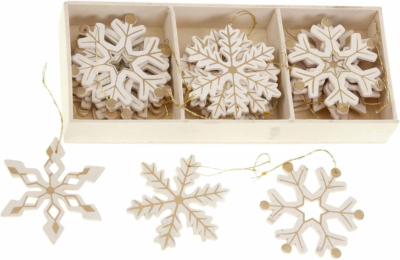 Shabby Chic de madera copos de nieve oro diseño árbol de Navidad ...