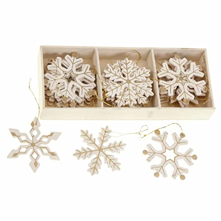 Wooden Snowflakes For Christmas Tree Decoration Pack Of 24 Cream And Gold