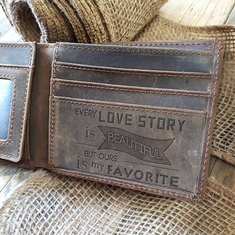 Gift for Boyfriend Birthday Gift Men Wallet Leathrr Every Love Story is Beautiful but Ours is My Favorite 2