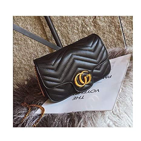 5ce15783b738a Amazon.com: Marment matelassé Leather Super Mini Bag Small Handbags for  Women Flap Cute Crossbody Bags for Women Cell Phone Purse with Chain -Black  Color: ...